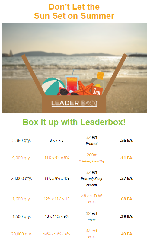 Leaderbox August Box Specials.